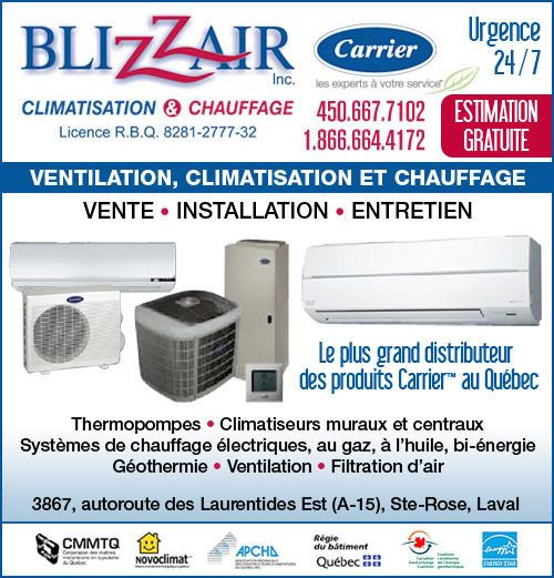 Blizzair inc. - BLIZZAIR inc. • www.blizzair.ca • 450-667-7102
