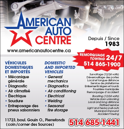 American Auto Centre - American Auto Center • mécanique générale, suspension, freins, air climatisé, remorquage, diagnostic, soudure, etc. | Pierrefonds / general mechanic, suspension, brakes, air conditioning, towing, diagnosis, welding, electrical system, etc. | Pierrefonds  (514) 685-1441