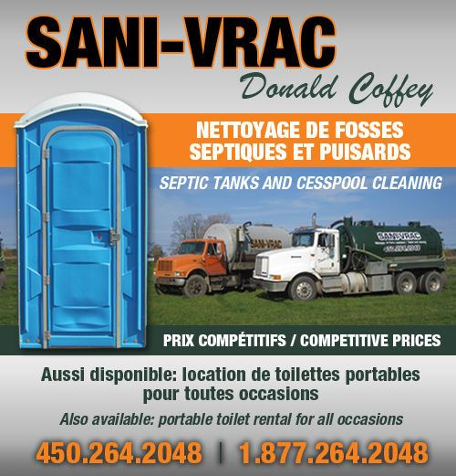 Coffey Donald Sani-Vrac - Coffey Donald Sani-Vrac pour le nettoyage de fosses septiques et puisards et la location de toilettes portatives en Montérégie / for septic tank and cesspool cleaning service and portable toilette or sink units for parties in Montérégie (450) 264-2048