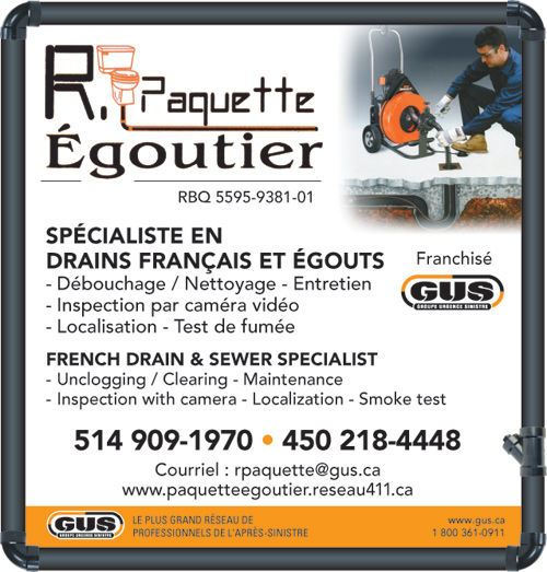 Vallée & Fils Égoutiers - R. Paquette Égoutier • Nettoyage et débouchage d'égout, remplacement de drain français, ocre ferreux, inspection par caméra et lavage de tuyaux / Cleaning & unclogging sewers, French drain replacement, iron ochre problems, septic tank cleaning and camera inspections (514) 909-1970