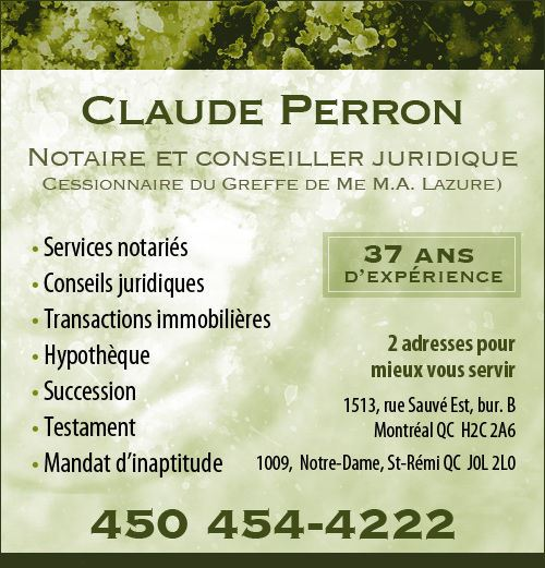 Claude Perron Notaire (Annonce)
